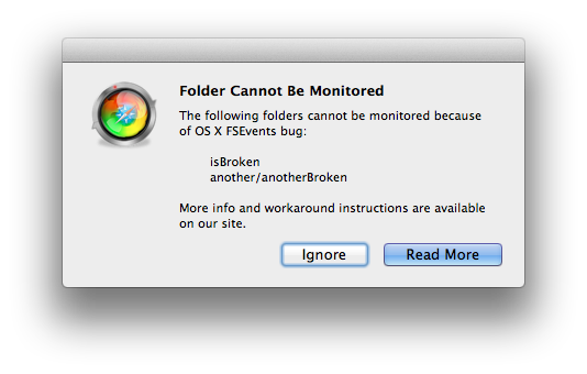 OS X FSEvents bug may prevent monitoring of certain folders
